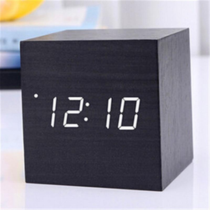 Termómetro Digital madera reloj alarma fecha reloj de escritorio mesa de carga USB breve activado por voz electrónica decoración para el hogar