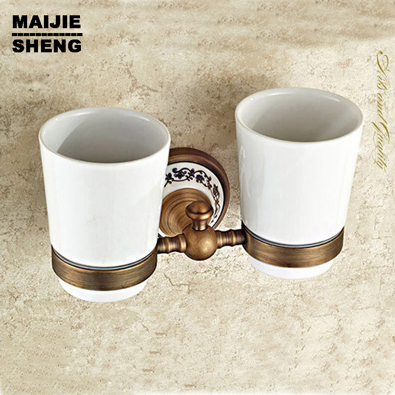 toothbrush holder bathroom accessory sanitary ware bathroom furniture toilet Brass antique porcelain Double tumbler cup holder 2017 latest model rubber spray technology black single tumbler cup holder toothbrush holder bathroom accessory