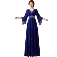 Long Sleeve Royal Blue Beaded Formal Mother Of The Bride Robe De Soiree Longue Evening Dresses