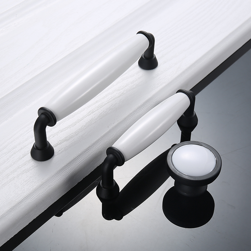 European Black White Ceramic Handle Modern Simple Cabinet Wardrobe Door Handle Cabinet Classical Handle GardenEuropean Golden in Cabinet Pulls from Home Improvement