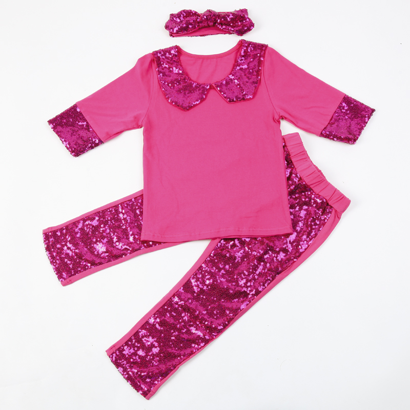DHL EMS Free shipping Kids Toddlers Children 3pc Suit Sequined Shimmer Sparkle Top Pants Headband Sequin Children Clothing ct4670 used disassemble dhl ems free shipping