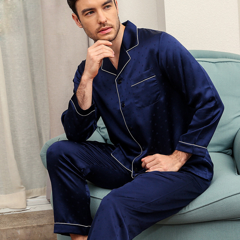 Dutiful Elegance 100% Mulberry Silk Mens Pajamas Sets Noble Jacquard Weave Long Sleeve Solid Color Male Pyjamas Pure Silk Pijamas Ample Supply And Prompt Delivery Men's Pajama Sets