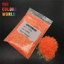 TCR54 переливчатая радуга оранжевый красный цвет Шестигранная форма блеск для дизайна ногтей украшение для лица Блеск тени для век хна ручная работа DIY