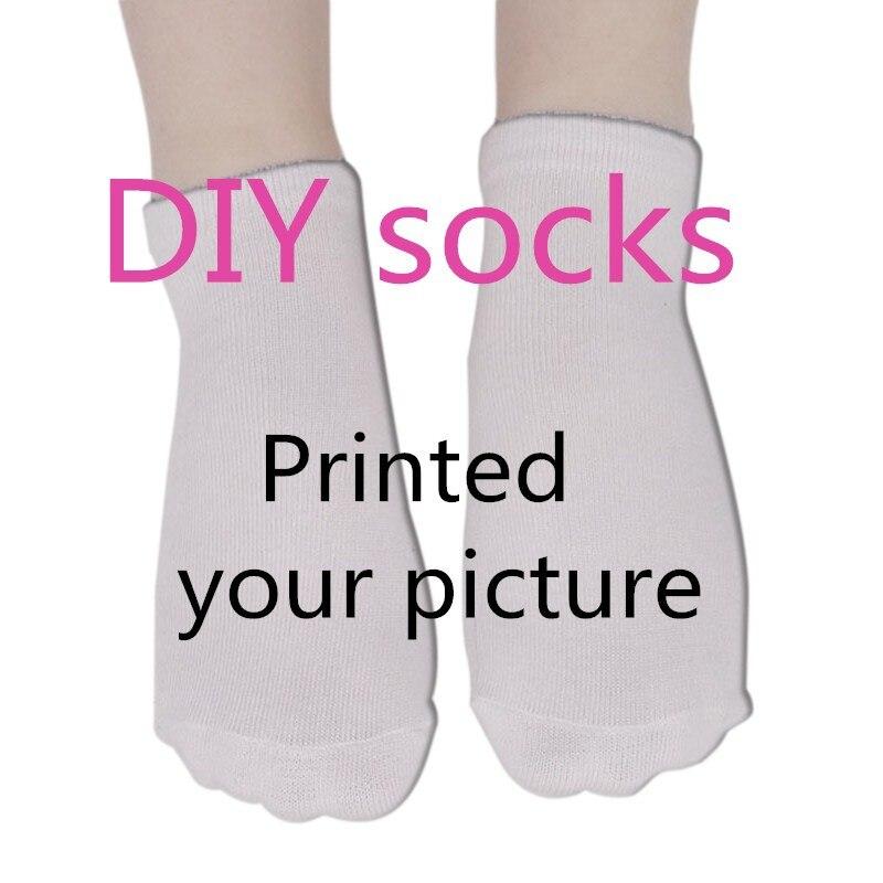 Hot Factory Custom Gift Short Socks 3D Print DIY Custom Photo  Logo Face Cotton Design Funny Casual Socks For Free Shipping