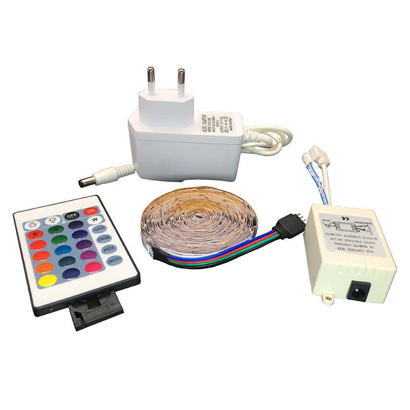 Lampu Strip LED RGB 5 M 300LED Tahan Air SMD 3528 DC 12 V 60LED/M Neon Pencahayaan Dalam Ruangan Tape pita Controller Uni Eropa Adaptor Set