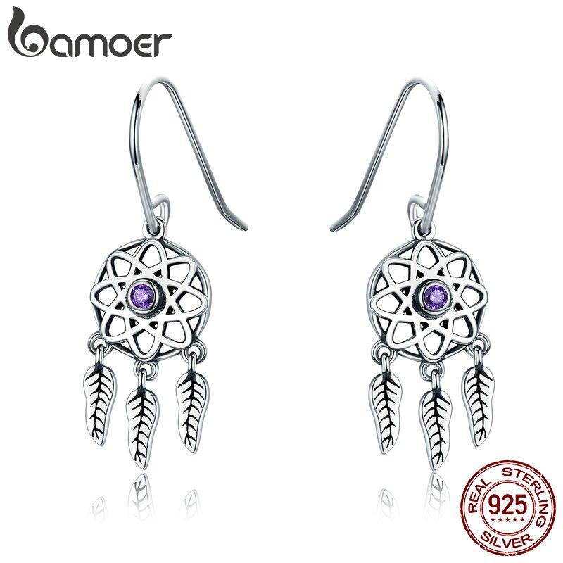 BAMOER Genuine 100% 925 Sterling Silver Dream Catcher Holder Drop Earrings for Women Sterling Silver Jewelry Gift SCE394 bamoer 925 sterling silver