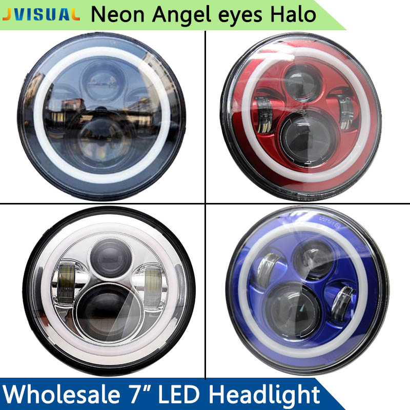 7inch LED Halo Headlights Kit 7 LED Headlight H4 Hi/low Auto Headlight With Angle Eye for Jeep Harley Lada Niva Toyota UAZ 4x4 7 inch round 50w 7 led headlight h4 led head lamp for harley motorcycle for jeep wrangler 4x4 with white amber halo hi low beam