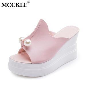 7401824ae39d MCCKLE Women Slippers Platform Ladies Slides Female Heels