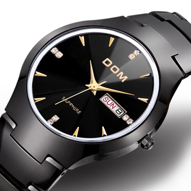 DOM Watches men tungsten steel lovers WristWatch waterproof Business women watches relogio feminino couple watch