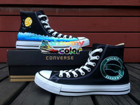 Black Converse Shoes Water Polo Hand Painted Canvas Shoes Men Women High Top Fashion Sneaker