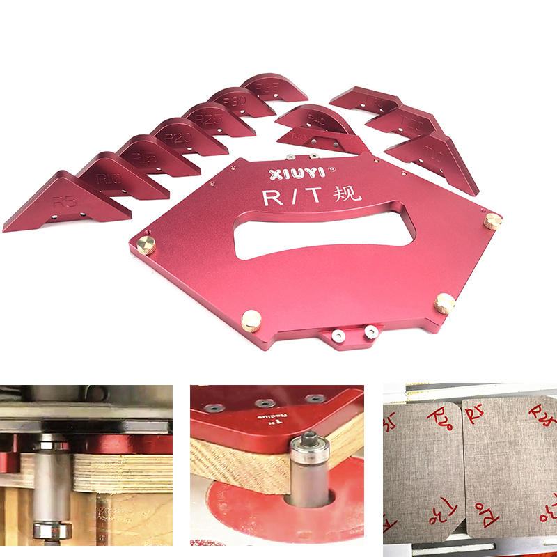 Router Table Corner Jig Radius Chamfer Profile Template Kits for Woodworking Trimming Tool Set Aluminium Alloy