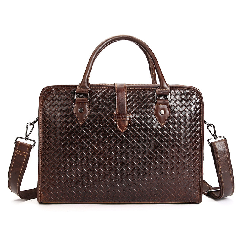 все цены на Hand woven Men messenger bags genuine leather bag man briefcase fashion designer handbag high quality famous brand business bags