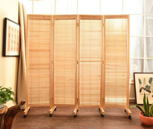 Oriental Anese Style 4 Panel Wood Folding Screen With Wheels Room Divider Home Decor Decorative