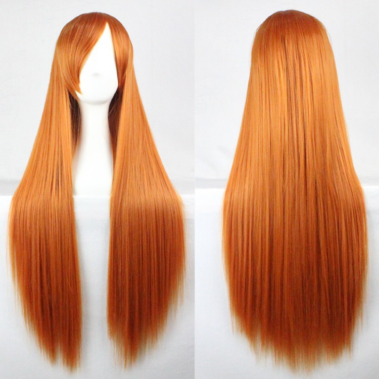 f7e3843985 Ombre Wig Synthetic Orange Lolita Wigs Perruque Kanekalon Afro Kinky Long  Straight Bangs Peluca Harajuku Anime Cosplay Ombre Wig
