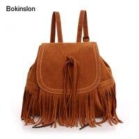Bokinslon Women School Backpacks Fashion Double Velvet Tassel Woman backpack Individuality Popular Girl Bags