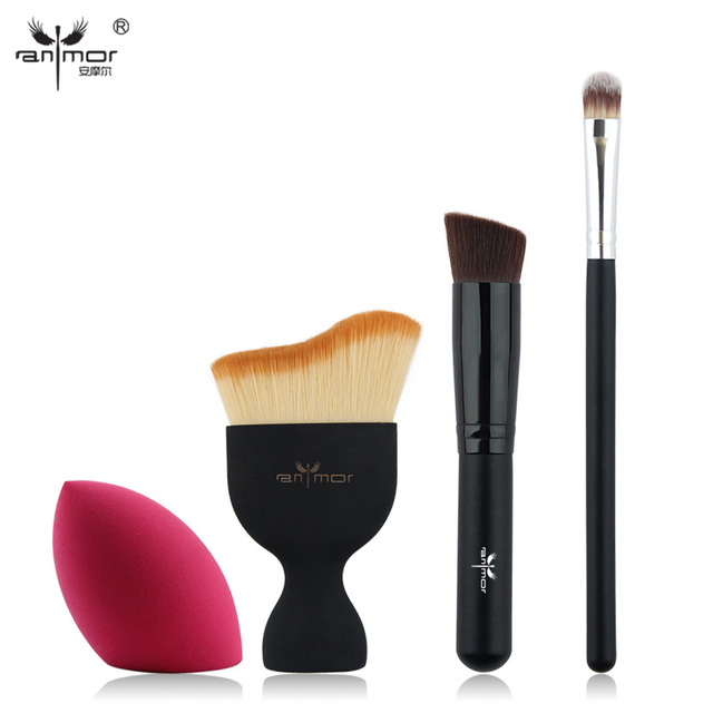 New Design Foundation Brush Kit 4 pcs Makeup Brushes Cosmetic Cream Powder Blush Makeup Brush Set KI01