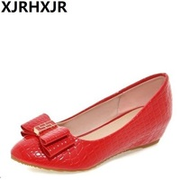 XJRHXJR Spring Summer Sweet Bow Single Shoes Comfortable Wedges Fashion Pointed Toe Moccasins Women S Casual