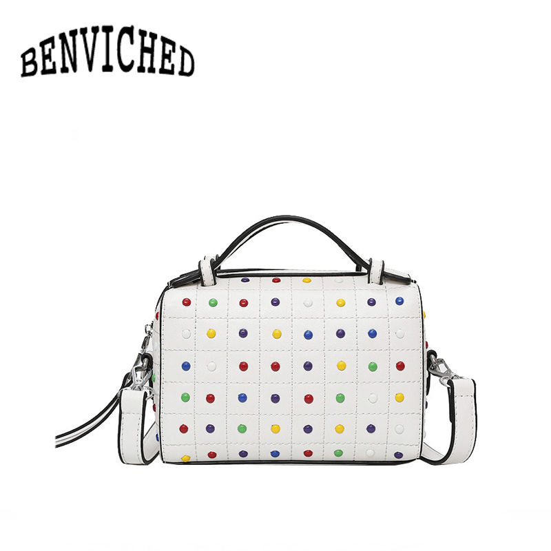 BENVICHED 2018 new hit color rivets Boston bag Europe and the United States fashion portable shoulder Messenger bag R71