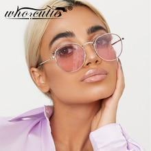 WHO CUTIE Retro Women Pink Round Sunglasses Brand Designer 2