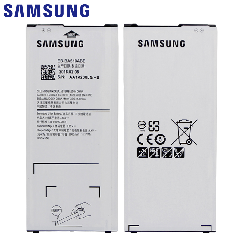 SAMSUNG Replacement Phone Battery EB-BA510ABE For Samsung GALAXY A510 2016 A5 2016 Version Authentic Phone Battery 2900mAh