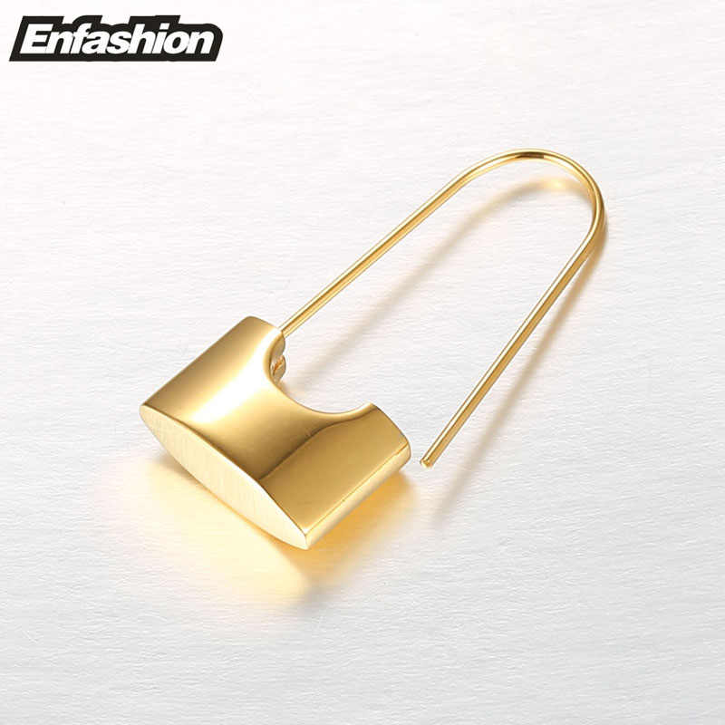 Enfashion оптовая продажа замок сережки-подвески серьги золотистого цвета из нержавеющей стали висячие серьги для женщин ювелирные изделия Brinco
