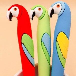 Image 5 - 48 adet/paket sevimli karikatür hayvan papağan silikon jel kalem yaratıcı kırtasiye işareti kalem öğrenciler ödül parti promosyon hediye kalem