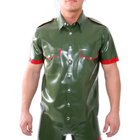Latex Uniform blouse For Mens Latex Coat Army Green Rubber Suit 0.4MM Thickness