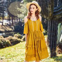 06440982177d807 ARTKA Лето 2018 новый богемный для женщин с открытыми плечами оборками  лоскутное шнурок короткий рукав бабочка элегантное платье.