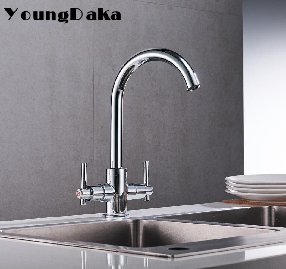 Solid Brass Kitchen Sink Faucet Modern Chrome Style Hot & Cold Mixer Tap Deck Mounted Kitchen Double Handle 360 Degree Rotating chrome kitchen sink faucet 360 degree rotating spout faucet hot and cold water mixer tap deck mounted
