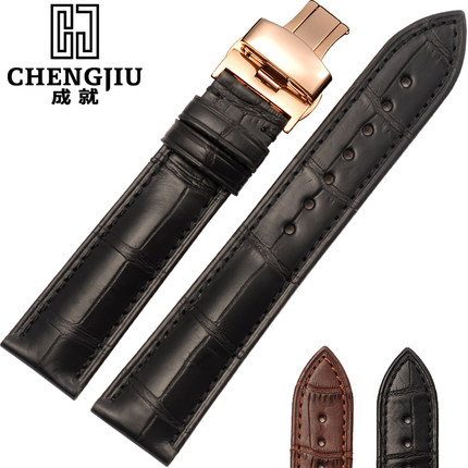 14 16 18 19 20 21 22 24mm Crocodile Skin Watch Strap For Jaeger LeCoultre/Mido/Blancpain Gold Deployment Buckle Watchband Men Cr цены онлайн