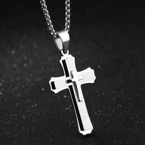 Бренд fate love мужское ожерелье и кулоны, мужское ожерелье с крестом, Панк цепь из нержавеющей стали, модные украшения, белый, черный, золотой