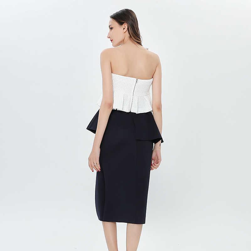 TWOTWINSTYLE, летний комплект из двух предметов с рюшами, белый корсет без бретелек, топ с высокой талией, с разрезом по бокам, облегающая юбка, 2019, юбки, костюмы для женщин
