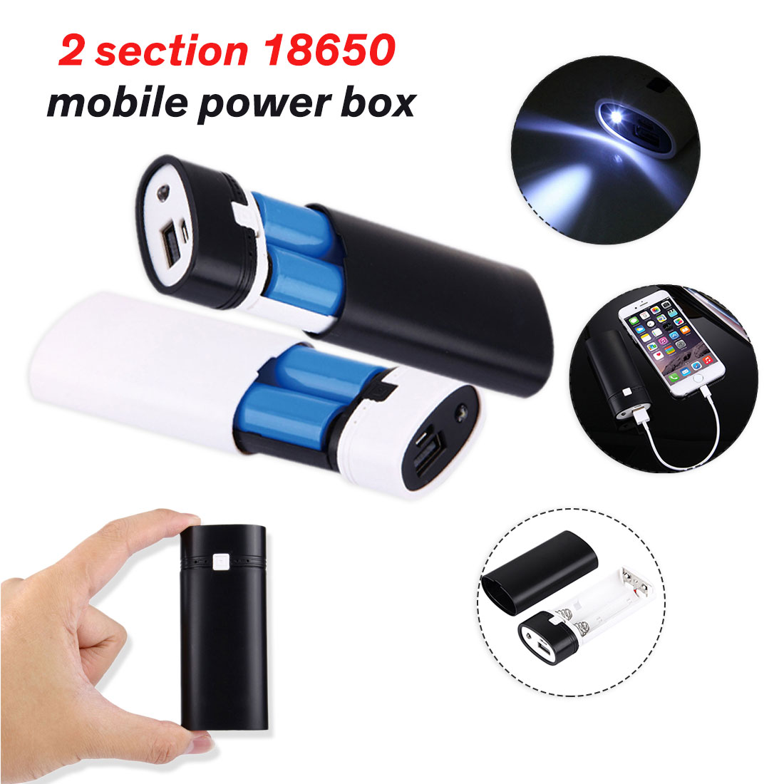 2X 18650 USB Power Bank Battery Charger Case Black DIY Box For Phone Powerbank For IPhone Portable Charging External Battery