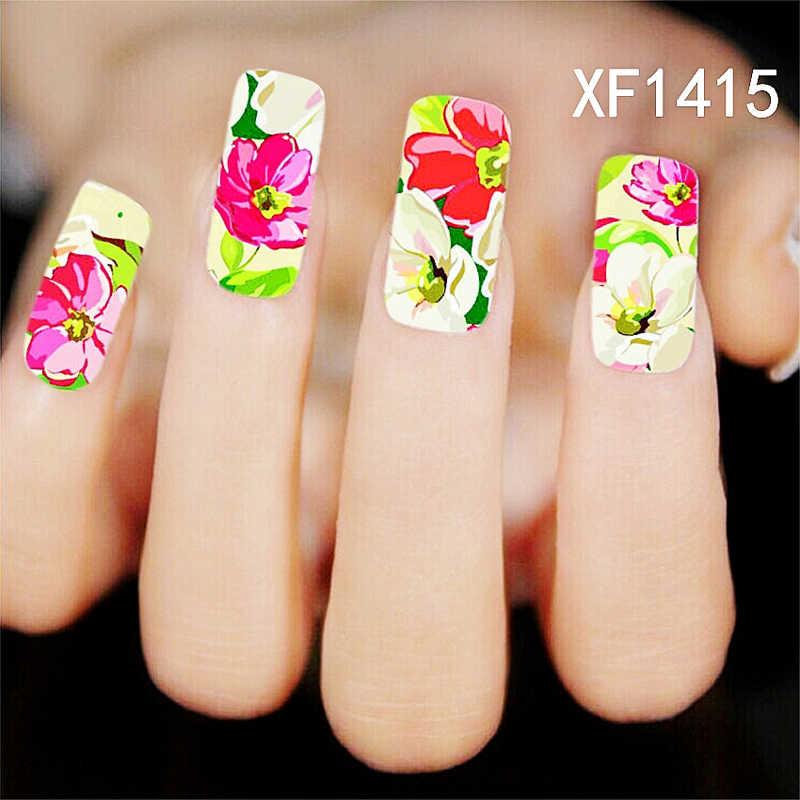 Bunga Penuh Tips Yang Dirancang Stiker Kuku Blossom Stamp Stiker Nail Art Beauty 10 Gaya Multi Pola Bunga Penuh Stiker Series2