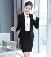 Formal Women Business Suits Skirt and Jacket Sets Ladies Black Blazer Office Uniform Designs Styles