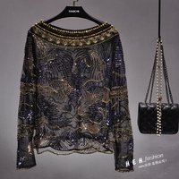 Cakucool Women Sequined Blouse Tops See through Sexy O neck Mesh Blusas Shirt Long Sleeve Loose Chiffon Bead Blouses Shirts Lady