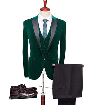 Mens suit Customized velvet Wine Red Pant Suits Business Office Green Tuxedos Formal Work Wear Suit 3 Set(Blazer+Vest+Pants+Tie)
