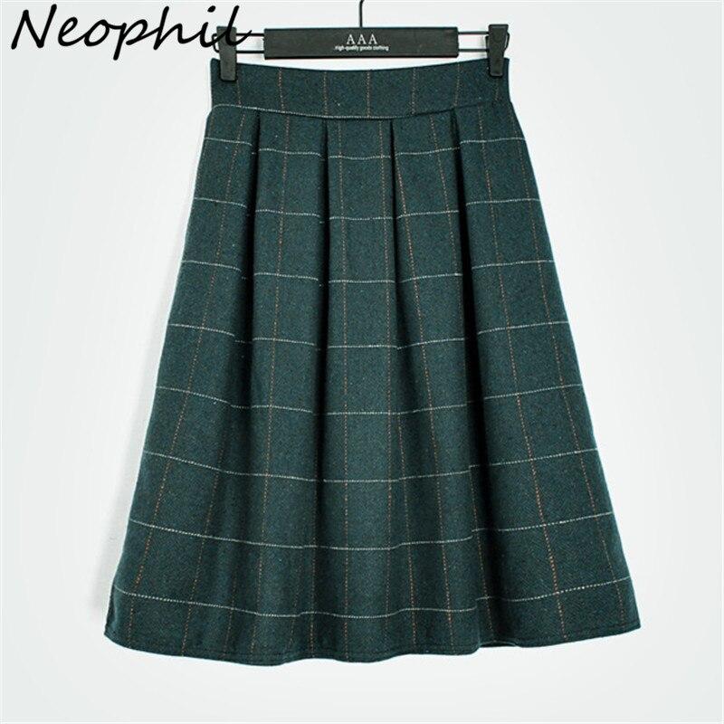 Neophil 2016 Winter England Style Green Khaki Plaid Woolen font b Tartan b font Above Knee