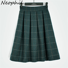 Neophil 2016 Winter England Style Green Khaki Plaid Woolen Tartan Above Knee Mini Girls High Waist Pleated School Skirts S0902
