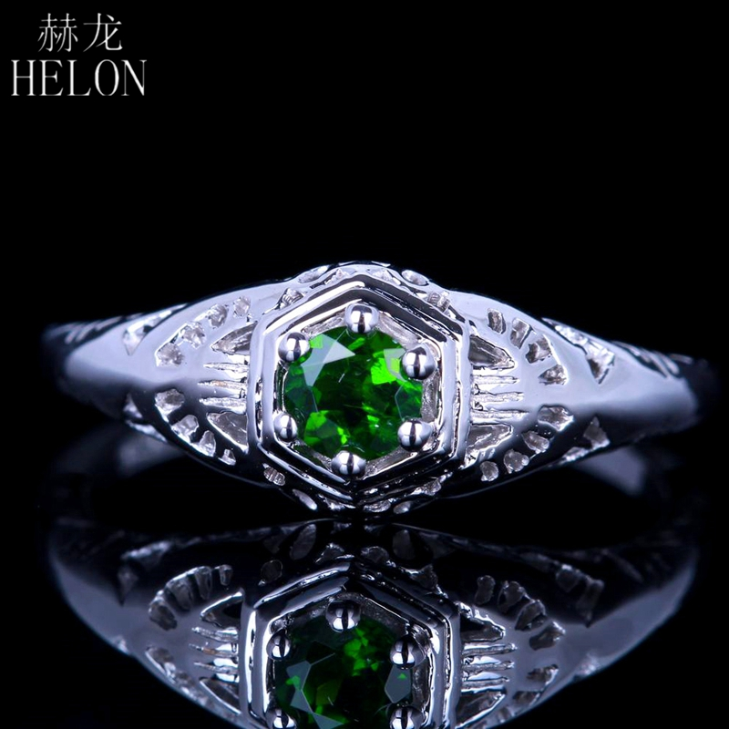 HELON Real 14K (AU585) White Gold Flawless Round 4mm Genuine Chrome Diopside Engagement Ring Wedding Vintage Trendy Fine JewelryHELON Real 14K (AU585) White Gold Flawless Round 4mm Genuine Chrome Diopside Engagement Ring Wedding Vintage Trendy Fine Jewelry