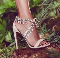Designer Crystal Ankle Strap Women Sandals High Heel Lace Up Cut Out Beige Black Summer Dress