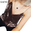 GACVGA Sexy camisola sin mangas de La Vendimia de terciopelo de cuello v sin respaldo correa tube top mujeres camis tops partido streetwear