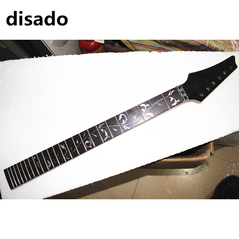 disado 24 Frets reverse headstock rmaple Electric Guitar Neck rosewood fingerboard black headstock Guitar parts accessories hot electric guitar jazz hollow body guitar black color chrome parts customised headstock shape