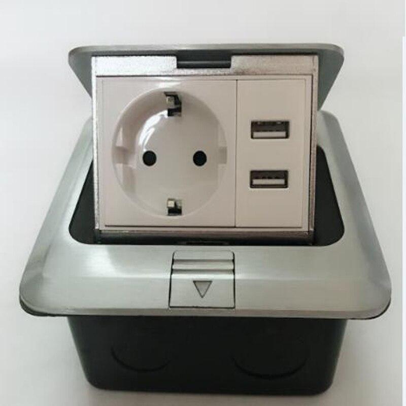 2018 Nouvelle Et Chaude 1 * power UE + 2 * charge USB, étage Pop Up Socket, argent, peut installer Smart Home/Hôtel