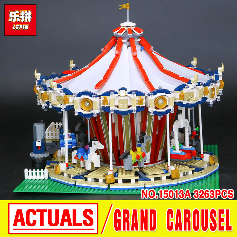 Lepin 15013 City Street  Carousel Model Building Kits  Assembling Blocks Toy Compatible with 10196 toys Educational Toys Gifts superwit 72pcs big size city diy creative building blocks brick compatible with duplo sets lepin educational toys children gifts