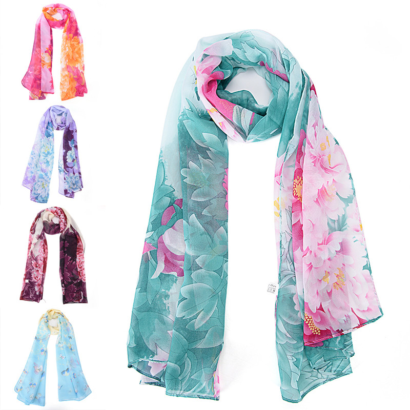Chiffon Butterfly Flower Print Scarf Women Artificial Silk Long Shawls And Scarves Foulard Femme Echarpe 160*50cm