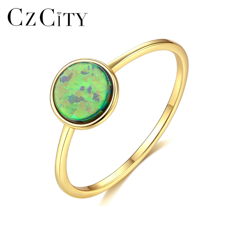 CZCITY Minimalist 7mm Round Fire Opal Rings For Women Blue/Green/White Colorful Thin Circle Rings Silver 925 Jewelry Accessories