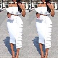 white two piece set sexy backless ruffle tunic summer dress plus size woman clothes elbise sukienki bodycon midi ladies dresses