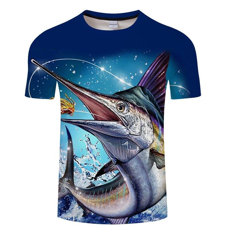 Summer Tuna T-shirt Man, Black And White Fish Design Short-sleeved Printed Male T-shirt.
