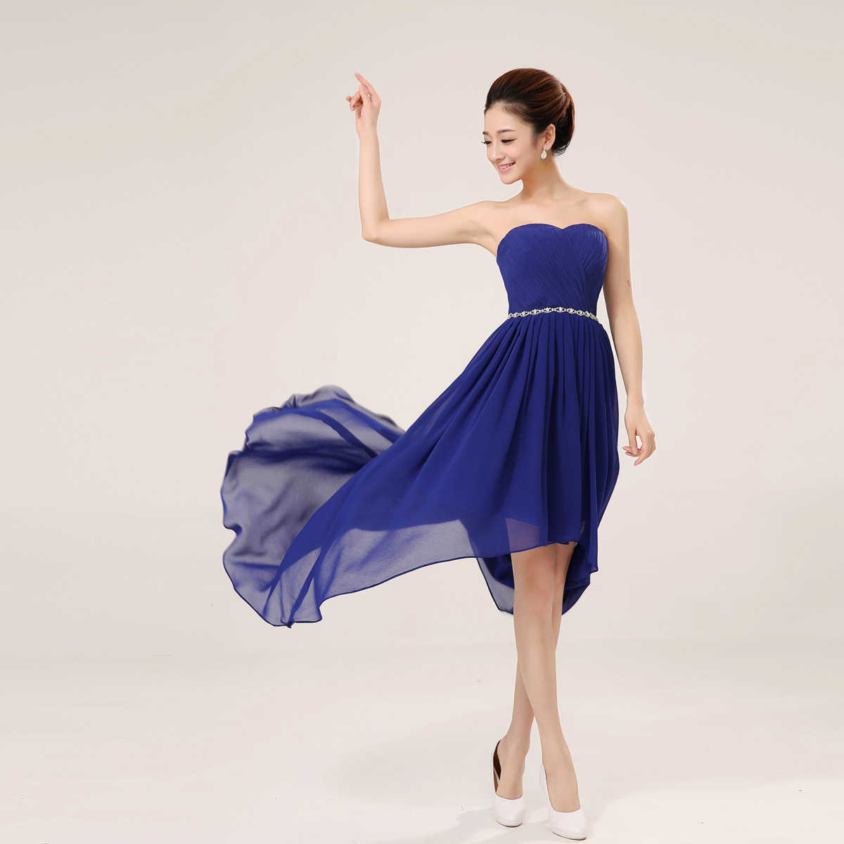 95acd0a24f SSYFashion Bridesmaid Dresses Short Chiffon Sweetheart Strapless Asymmetry  Lace-up Formal Dress Plus Size Bridal Prom Dress